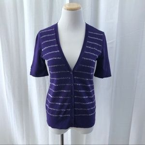 Ann Taylor Loft purple sequin short sleeve cardi S